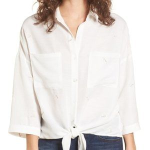Lush Daisy White Embroidered Tie Front Shirt